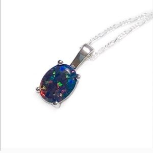 925 Sterling Silver Black Opal Necklace